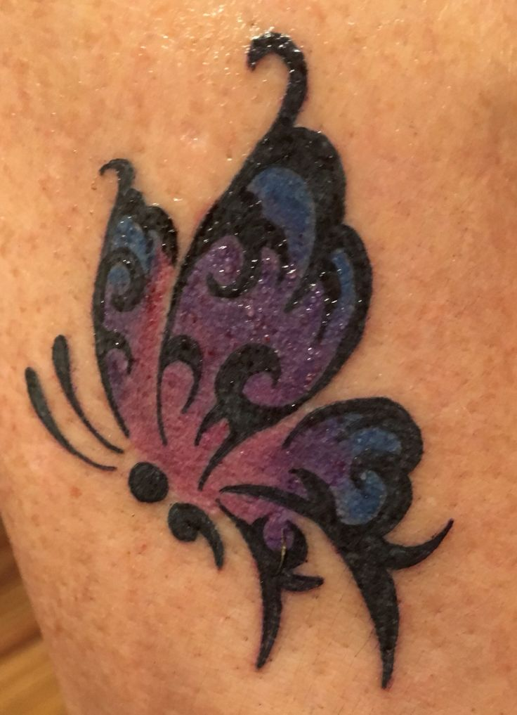 Semicolon butterfly tattoo in color