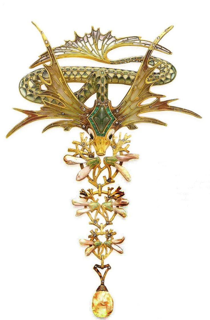 Spectacular jewel, depicting a fantastic sea creature, by Georges Fouquet and Alphonse Mucha.