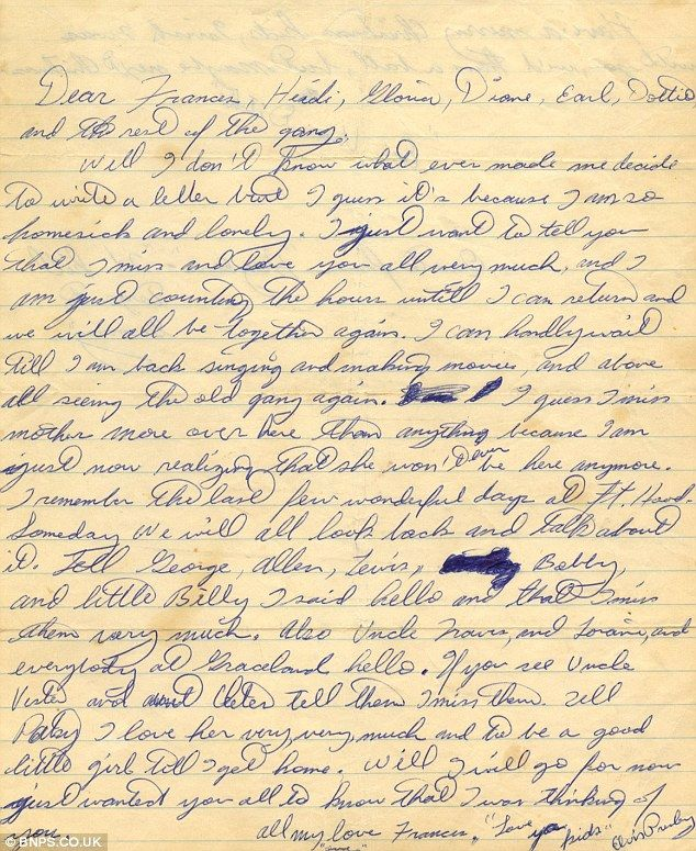 Elvis wrote the letter when he was stationed in Germany and three months after his mother died.