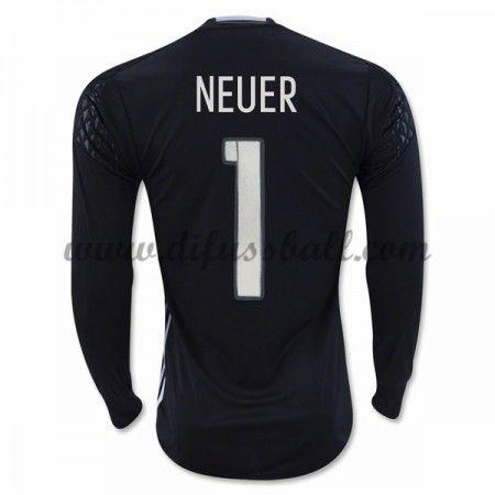 Nationaltrikot Deutschland 2016 Torwart Neuer 1 Langarm Heim Fußballtrikots