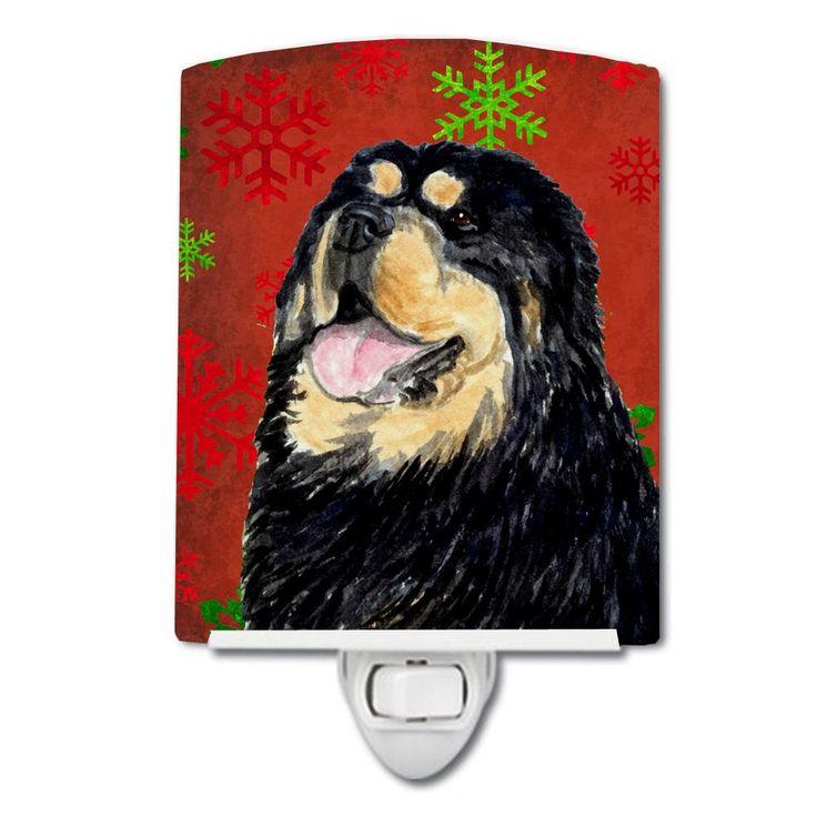 Tibetan Mastiff Red Green Snowflake Christmas Ceramic Night Light SS4719CNL