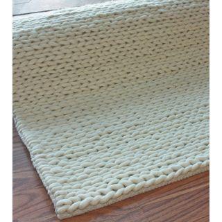 NuLOOM Handmade Braided Cable White New Zealand Wool Rug (5u0027 X 8u0027)