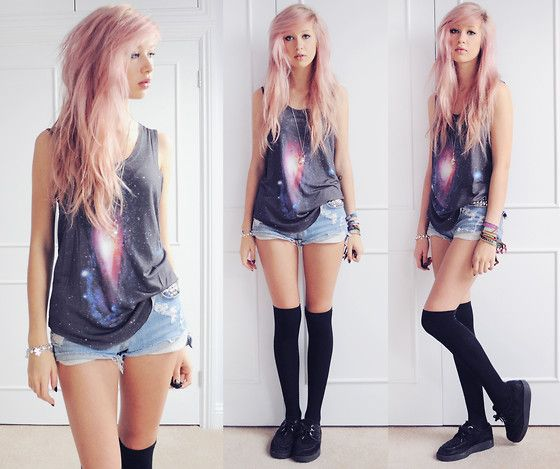 Your Eyes Lie Galaxy Vest, Iridescent Studded Denim Shorts, Primark Thigh Socks, Underground Creepers | HYPER PARADISE (by Amy Valentine) | LOOKBOOK.nu