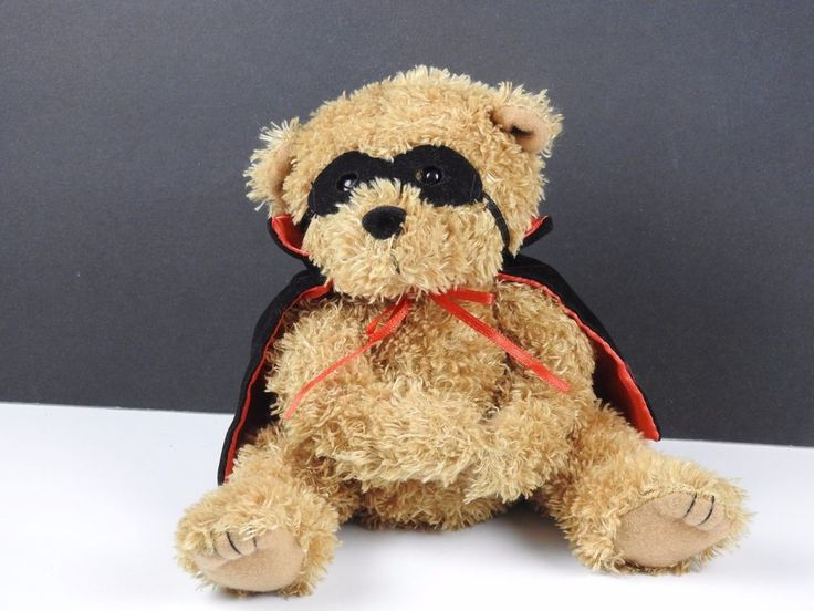 Small Teddy Bear Puppet Plush Stuffed Animal With Mask And Cape #Unbranded
