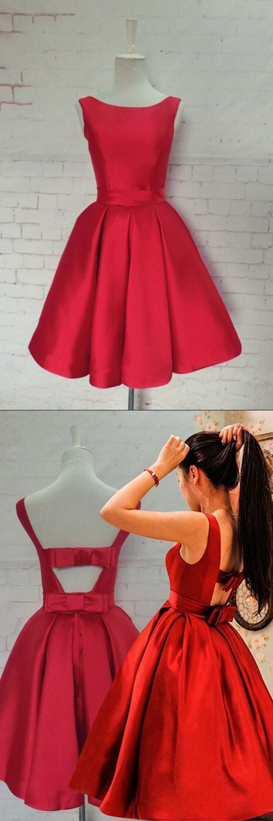 Short Sexy Red Satin Prom Dress,Knee-length Homecoming Dresses with bow , Open Back Prom Dress for teens