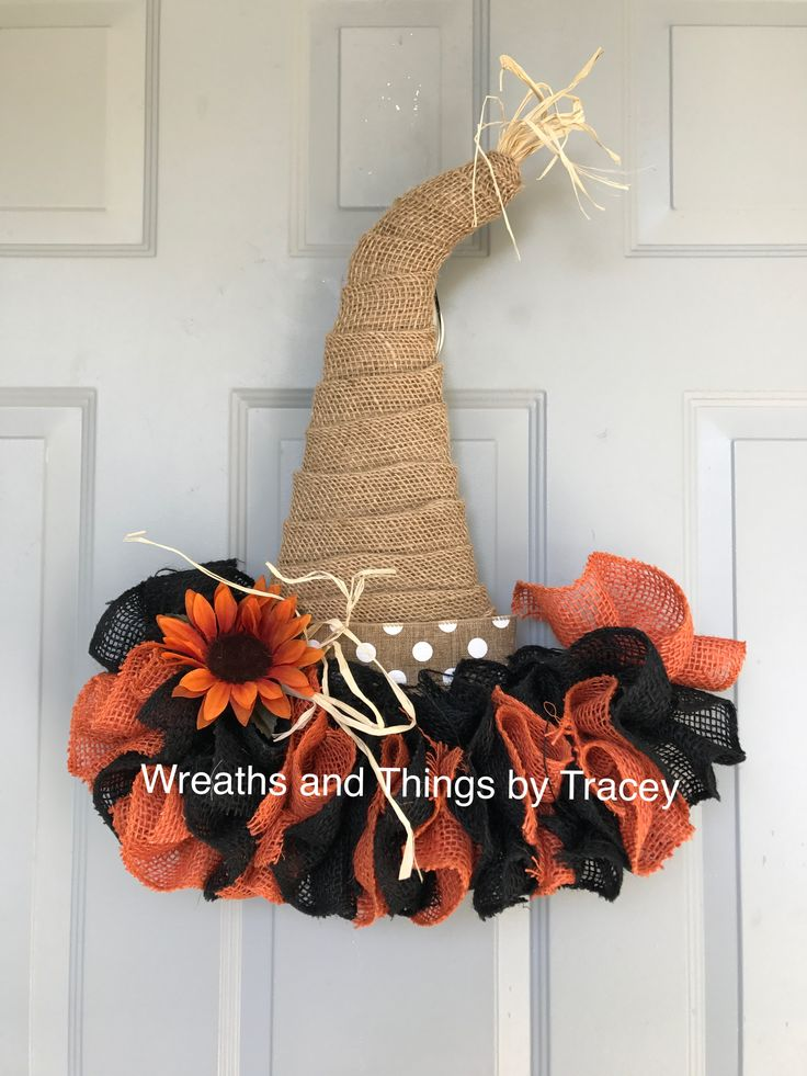 DT Fall Burlap Hat - Orange u0026 Black - 2017 - Wreaths and Things by Tracey & 216 best Wreaths and Things by Tracey images on Pinterest ... pezcame.com