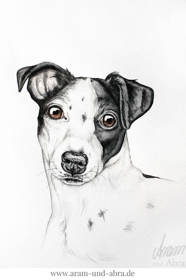 Zeichnung Hund, Jack Russell Terrier, Aquarell nach Foto