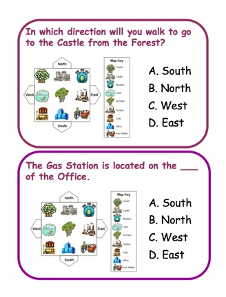 Here's a set of 14 question cards on cardinal directions. Available from ProTeacher, you must login to download. (Membership is free.)