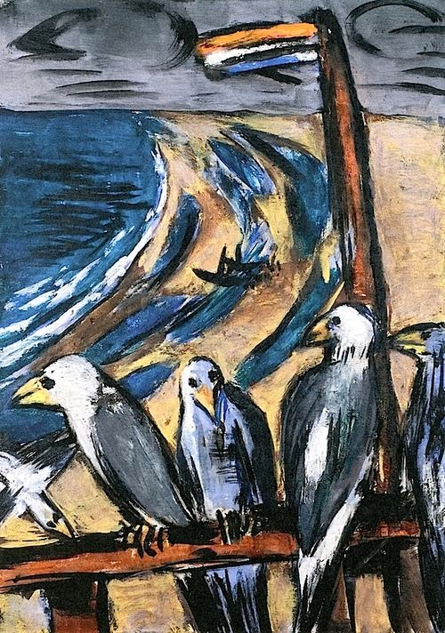 MAX BECKMANN (German,1884-1950) Sea Gulls in A Storm (1942) http://alongtimealone.tumblr.com/post/45606925313/bofransson-sea-gulls-in-storm-max-beckmann