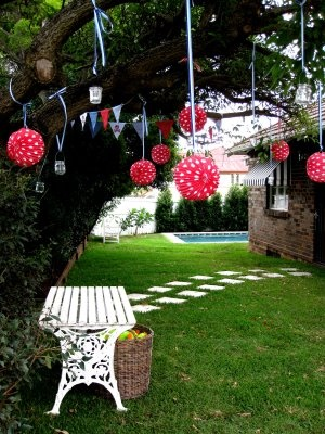 Paper lanterns for an outdoor party