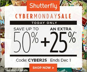 Cyber Monday Deals With Shutterfly Coupon Codes! Save An Additional 25%! - http://www.stacyssavings.com/cyber-monday-deals-with-shutterfly-coupon-codes-save-an-additional-25/