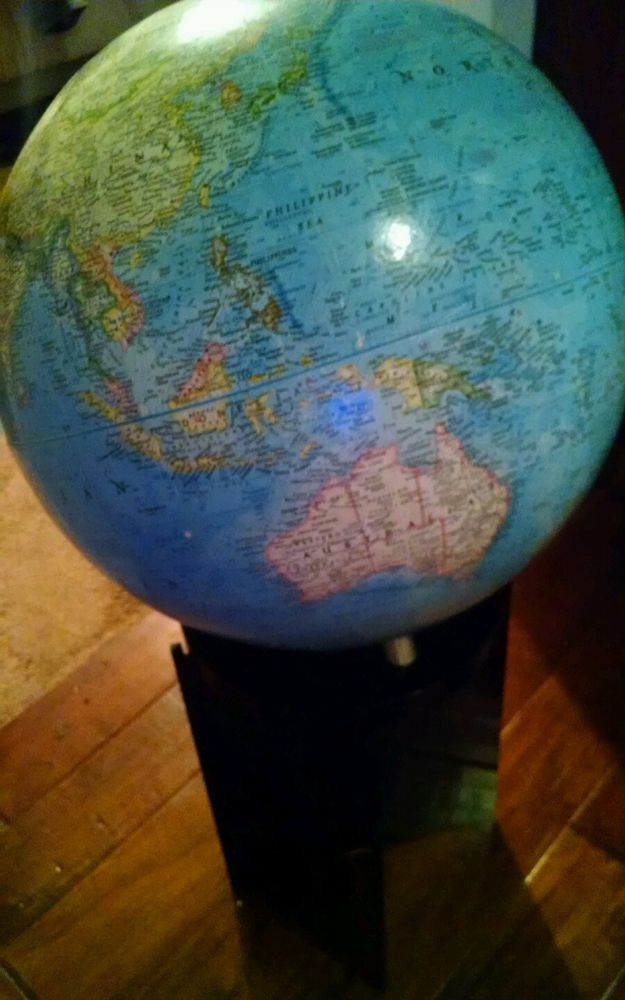 rare vintage mid century national geographic floor globe black lucite stand