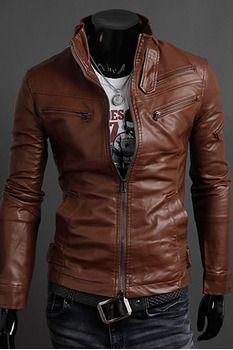 Clothingloves PU Plain Zipper Jackets(LightBrown)