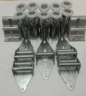 Double-Garage-Door-Parts-Hinges-Rollers-Top-Bracket-Tracks-Bolt-Kit-16x7-18x7