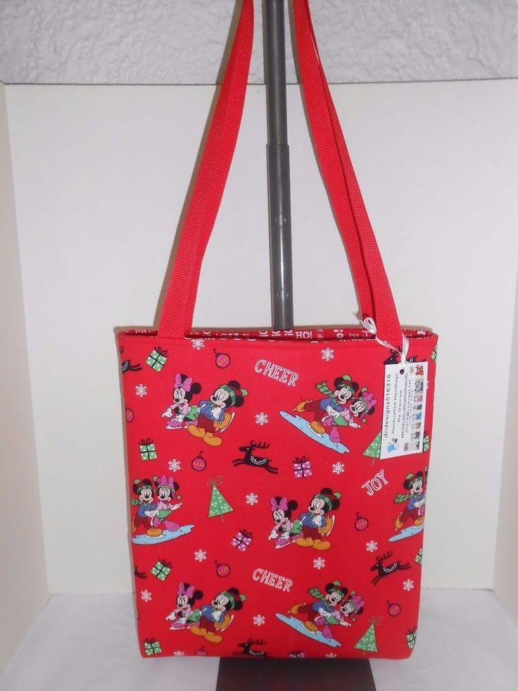 Mickey Mouse Christmas inspired cotton fabric tote bag handmade handbag #1R #Handmade #TotesShoppers