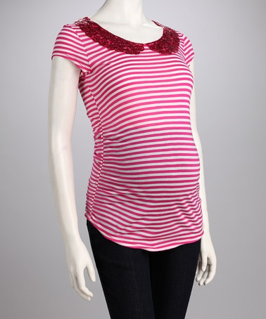Take a look at this QT Maternity Pink Stripe Peter Pan Collar Maternity Tee by QT Maternity on #zulily today!