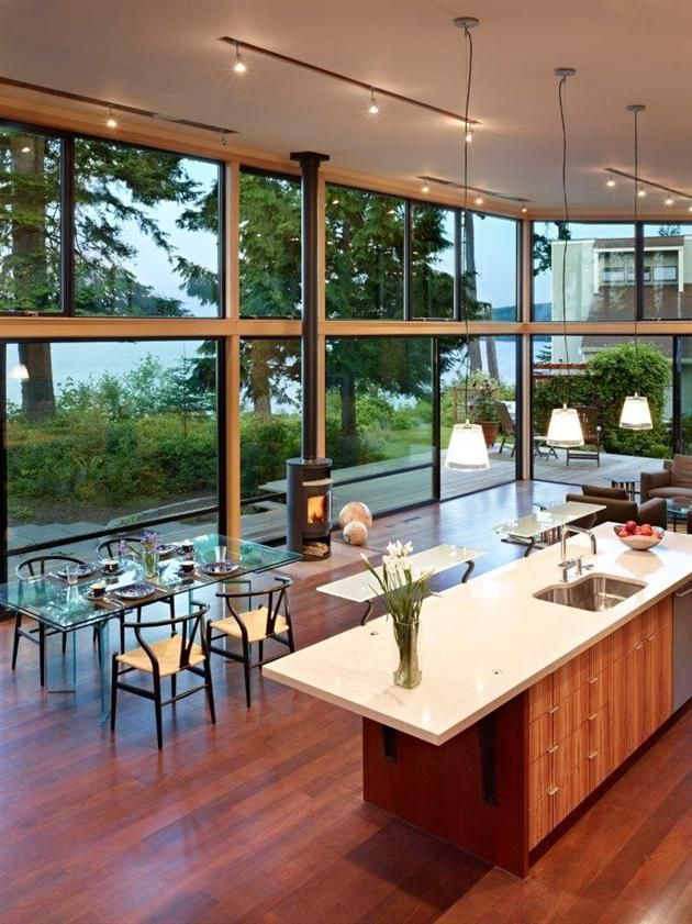 Kitchen and Dining Room with Large Glass Wall