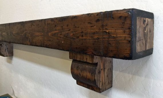 Wood Beam mantle with Corbels Beam Mantle by LynxCreekDesigns