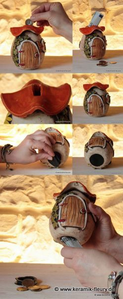 fairy house tutorial http://www.keramik-fleury.de/kreative-keramik/spardosen/: