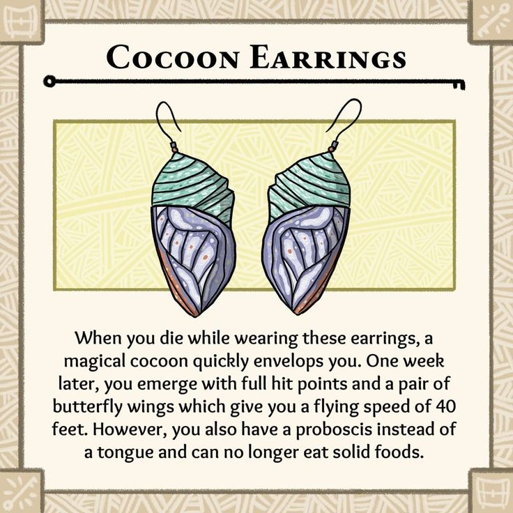 Cocoon earings dungeons and dragons homebrew dd