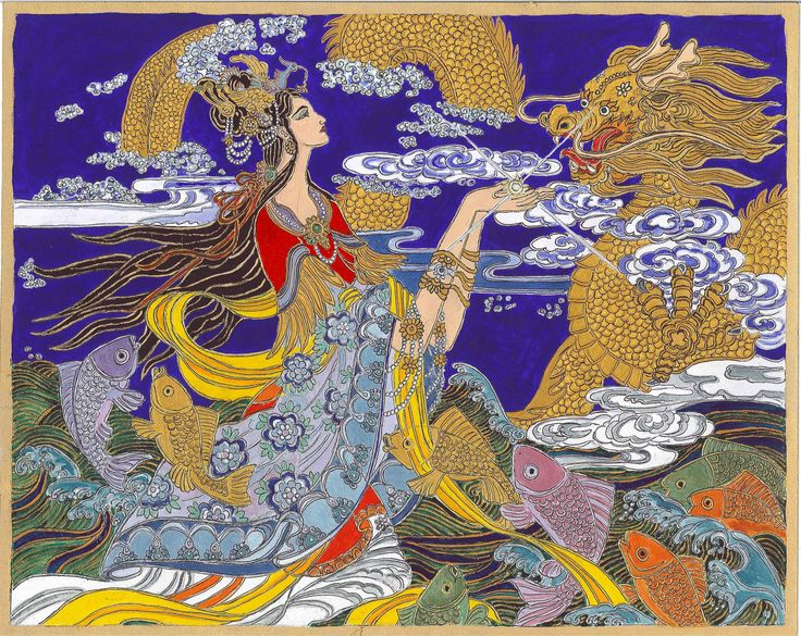 Quan Yin and the Yellow Dragon. Quan Yin is the godess of limitless compassion in the Chinese and Japanese mythology. The Yellow Dragon is associated with luck, longevity, the element Earth. I saw the original of this painting somewhere on the internet, and I painetd it as a sigillum between the 25th December 2013 - 5th of January 2014, to balance the challenging constellations of 2014.