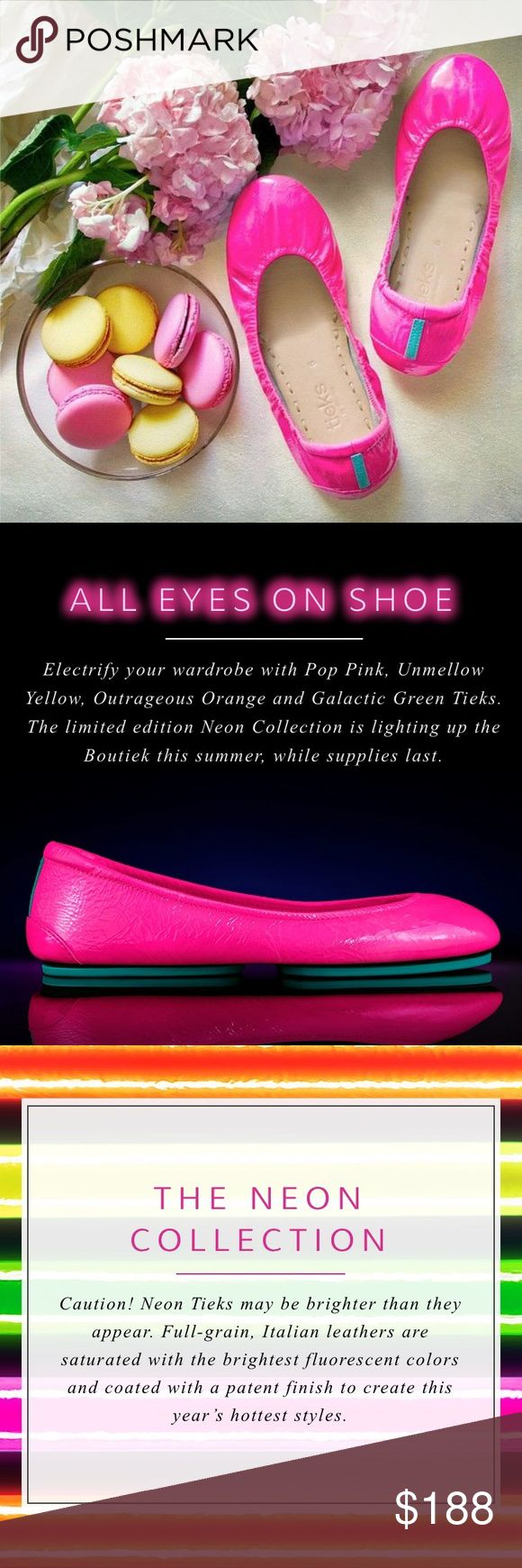 Neon Pop Pink Tieks Like new, worn once for a couple of hours! Just too bright for an introvert like myself. 🙈 No trades. No outside sales! PRICE IS FIRM, ALREADY AT A LOSS DUE TO FEES! Tieks Shoes Flats & Loafers