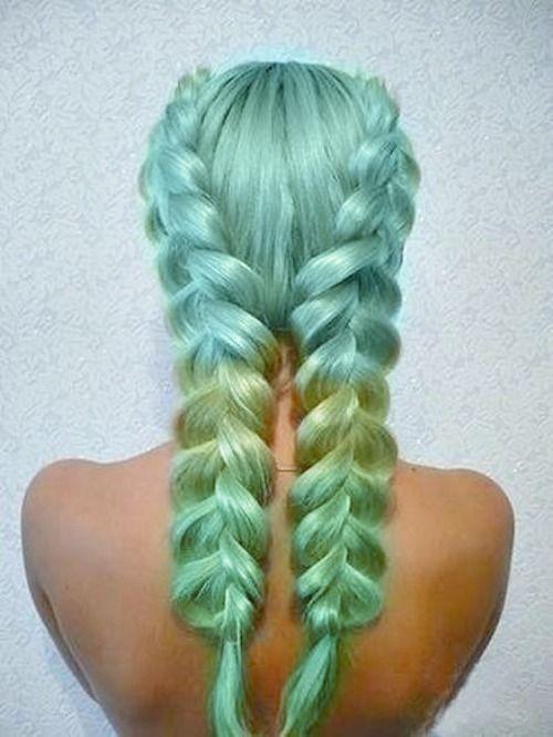 green + blue hair braided= <3