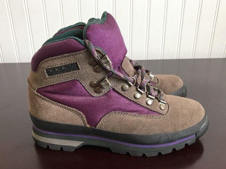 Women's VTG 1990's Timberland Euro Hiker Brown Purple Green Boots sz 6.5 M  | eBay