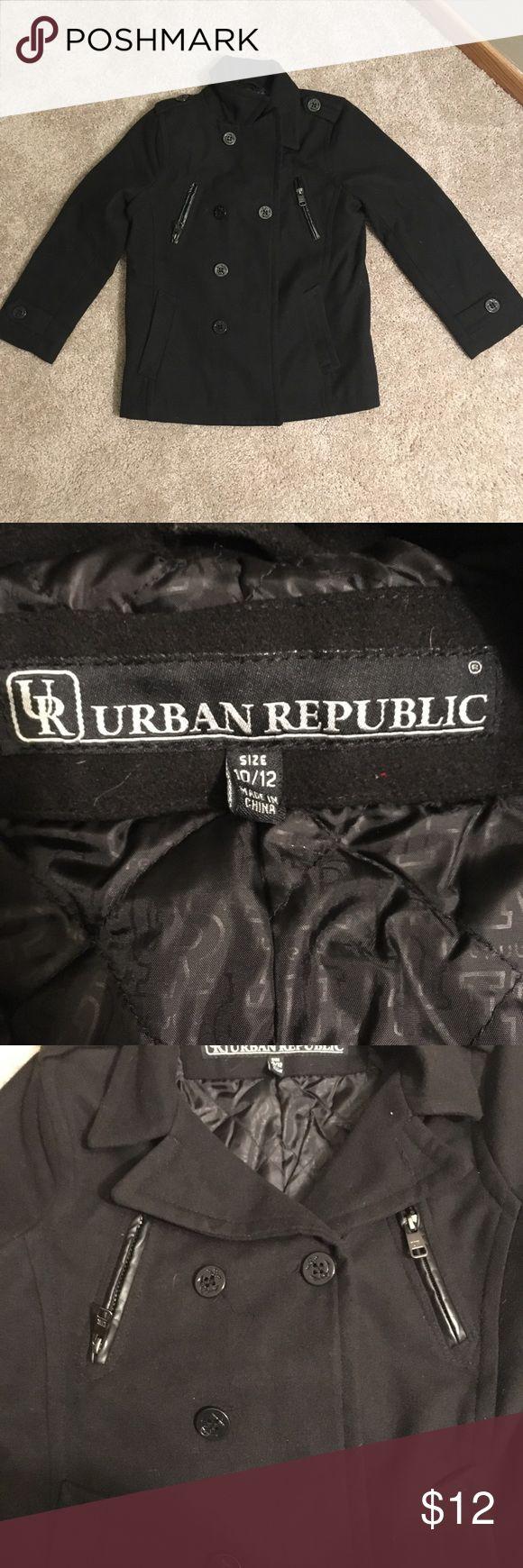Boys black pea coat Black pea coat, sz 10/12, like new condition Urban Republic Jackets & Coats Pea Coats