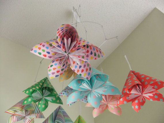 Whimsical Rainbow Flower Mobile Origami Flower by Katiemommy