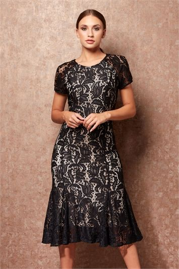17b6ba1077e4 ROMAN DRESSES - Flared Hem Lace Midi Dress - £48 Free UK Delivery - 12  Romanoriginals.co.uk