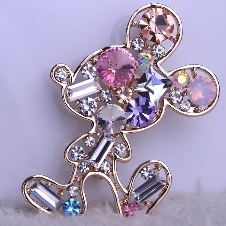 Wedding Jewelery Kawaii Micky Mouse Cartoon Brooches Crystal Scarf Clips Hijab Pins Up Broches  Brand Designer Large Broaches