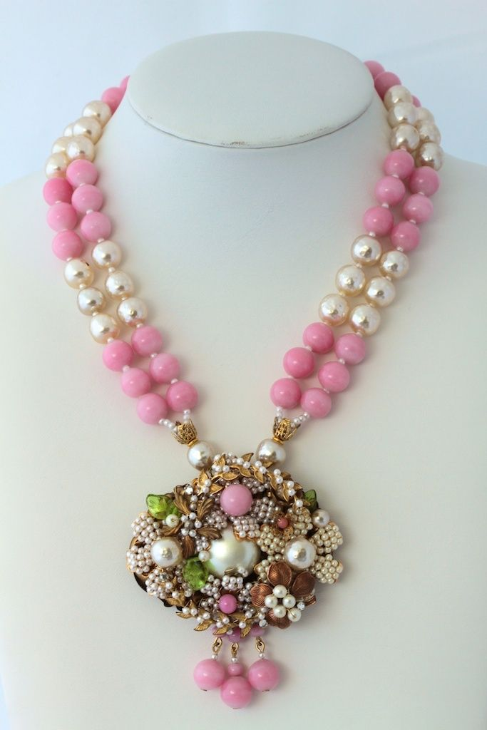 Miriam Haskell Vintage Pink Glass and Baroque Pearl Pendant Necklace f