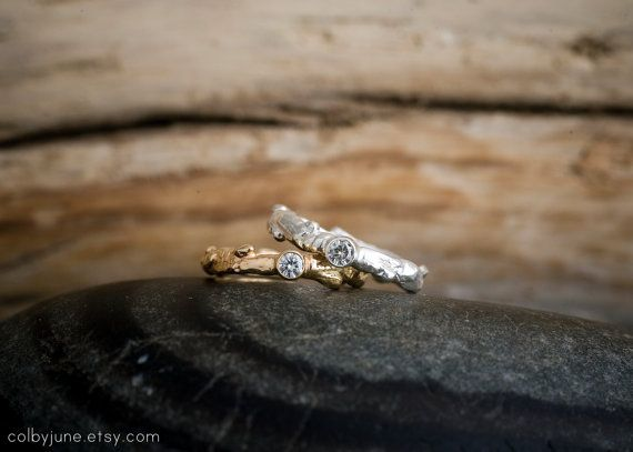 Silver Moissanite Oak Branch Ring  Stacking by ColbyJuneJewelry, $155.00