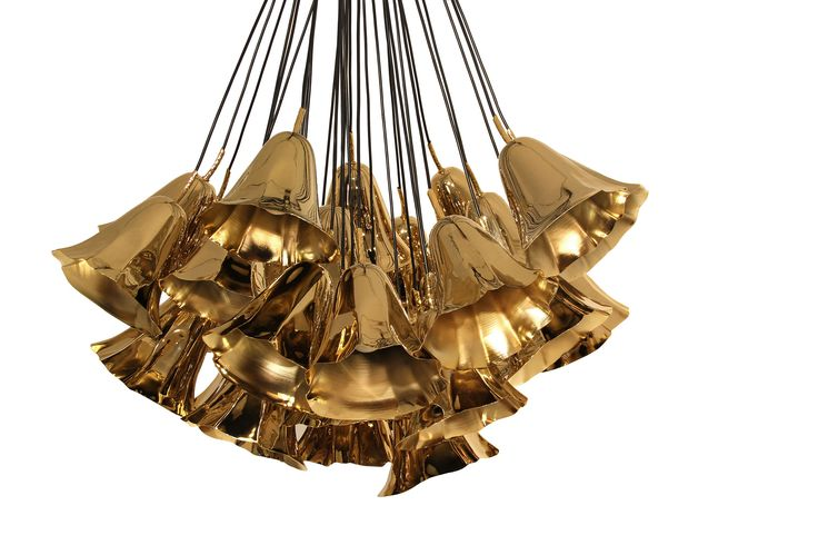 TOP PICK by ERICA ISLAS -KOKET | Love Happens – GIA | Chandelier - Imagine a gentile bouquet of flowers gracing your ceiling, the Gia chandelier consists of hand sculpted polished brass calla lilies tied by a simple string. Polished brass, antique brass, stainless steel. Showroom: Suites at Market Square, G-7034 #hpmkt