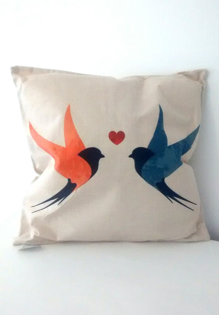 Swallow Design Jute Cushion