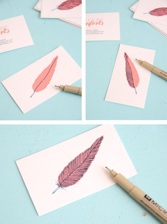 Easy Feather DIY: Feathers Art, Business Cards, Diy Art, Feathers Cards, Cards Diy, Diy Business, Diy Projects, Diy Cards, To Drawings