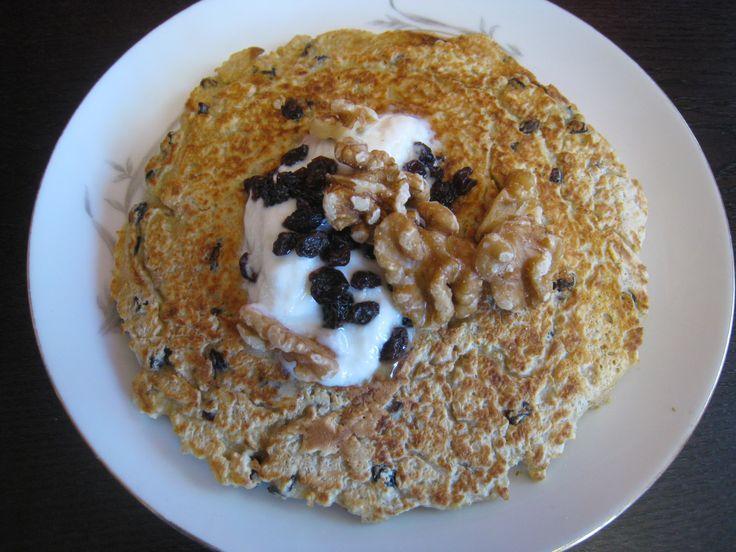 Black Currant Oatmeal Pancakes with Walnuts and Organic Yogurt
