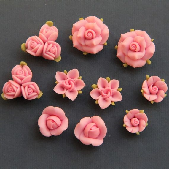 10pc 2 SetsPinkPolymer Clay DIY Flowers for Earring by naturaler