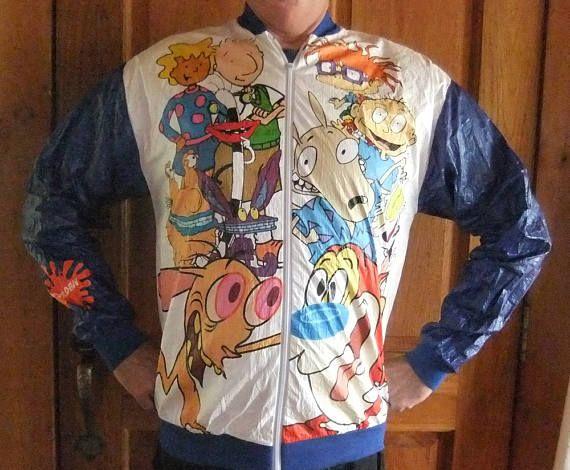 Vintage NICKELODEON 90's TYVEK Paper Nylon Jacket Adult