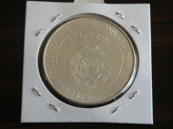 100 Soles de Oro Peru 1973 0.8 Silver Coin KM261 Reverse #coins #silver #peru #numismatic Centenario Inercambio Comercial Peruano Japones