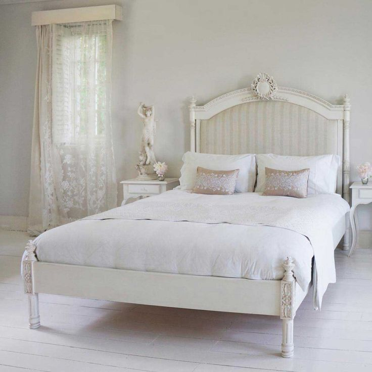 Provencal Column Upholstered Bed | White French Bed