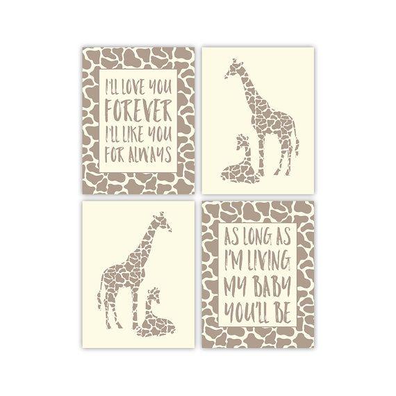 gender neutral nursery art mommy and baby giraffe print