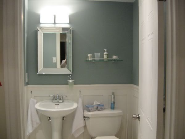 palladian blue, Nimbus grey or Azures...benjamin moore - Bathroom Color to go with the black and white tiles