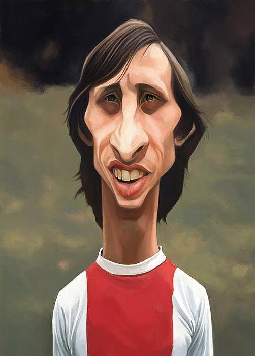 Caricatura de Johan Cruyff.