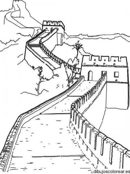 Dibujo de la gran muralla china Colorear Pinterest