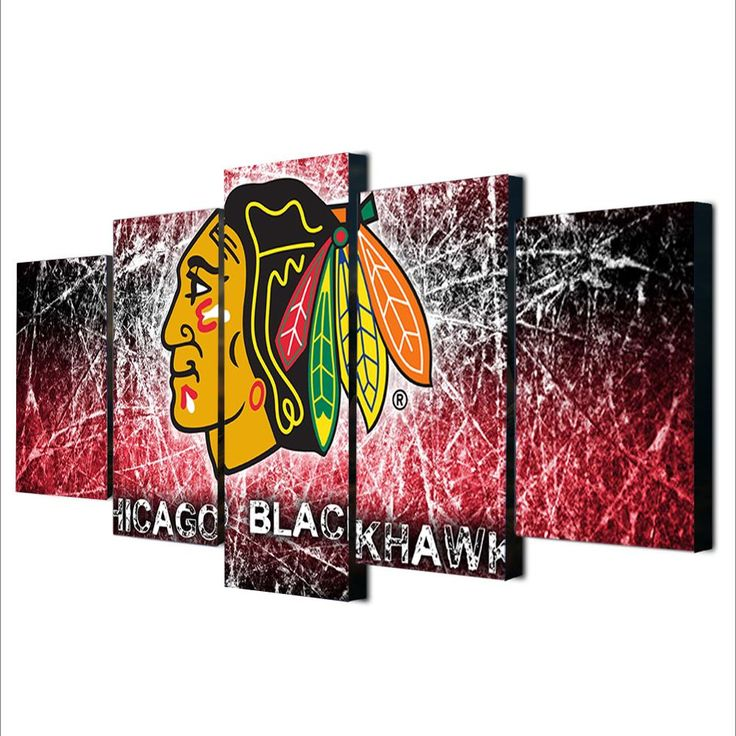 Unframed 5 Pieces Modern Ice Hockey Art Wall Painting Chicago Blackhawks  Sport Themed Eagle Picture Canvas Print For Decoration