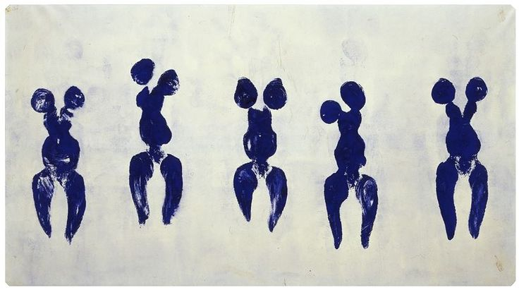 Yves Klein, Anthropometry with Male & Female, 1960, dry blu pigment on paper, 155 x 281 cm (Centre Pompidou, Paris)