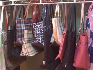 Use Shower Hooks To Hang Purses and Totes. From Miss Janice