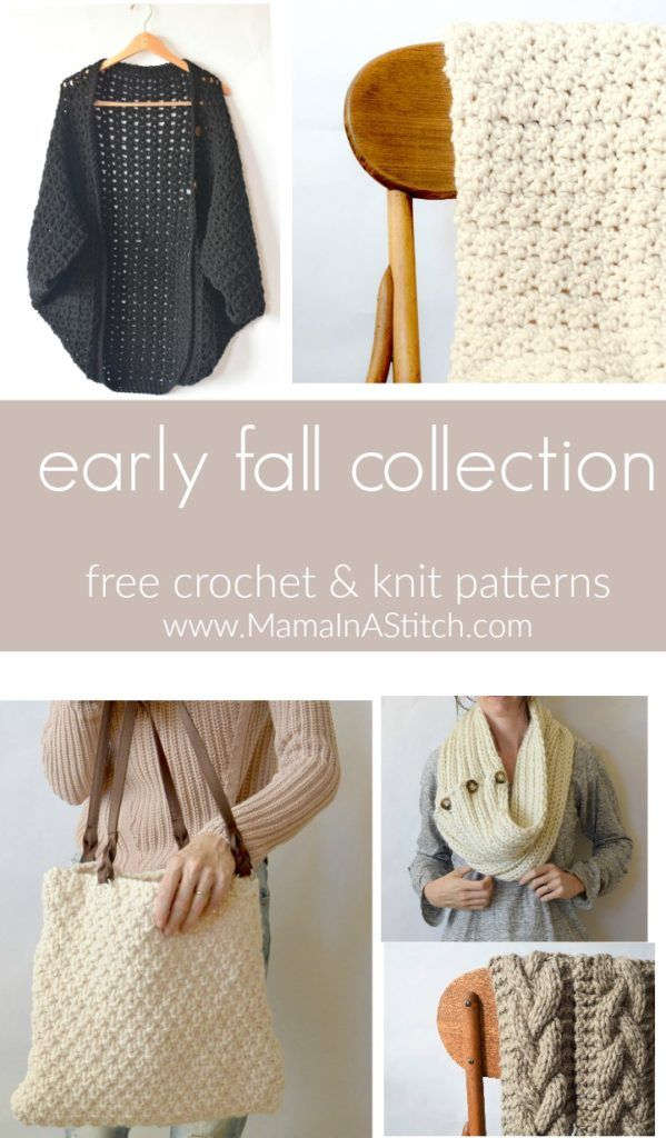 Easy, free knitting patterns and crochet patterns from Mama In A Stitch. Modern and fresh for Fall and Winter! #diy #patterns #crafts